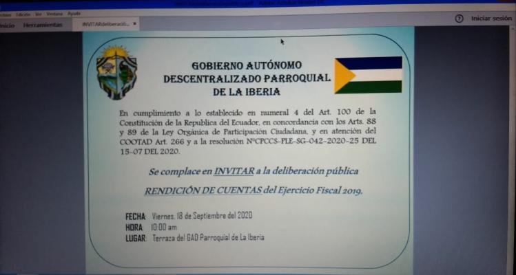 INVITACIÓN A EVENTO RENDICIÓN DE CUENTAS CUENTAS 2019.
